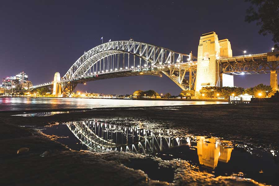 A view of the sydney harbour bridge at night