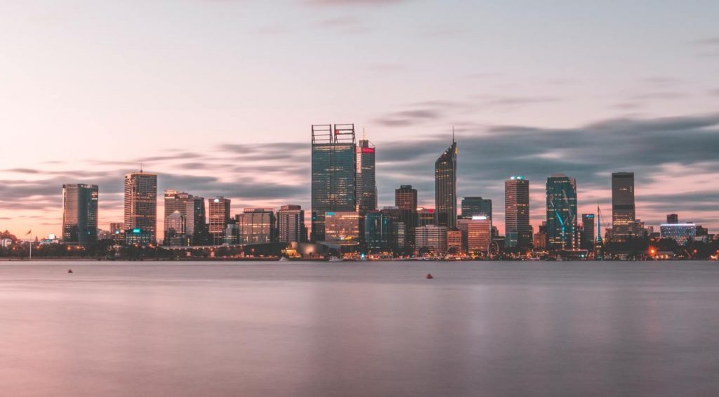 Perth skyline in the morning from the direction of the sea
